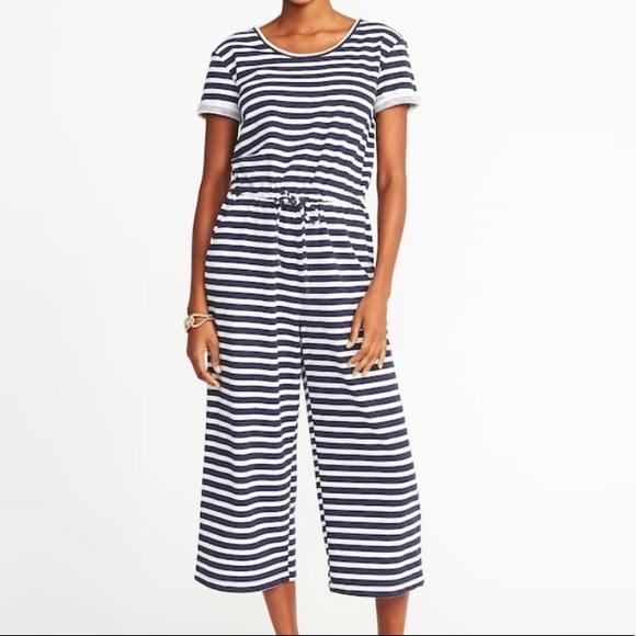 Old Navy Pants Striped Wideleg Boucl Jumpsuit M Poshmark